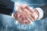Uścisk dłoni z interfejsem biznesowym