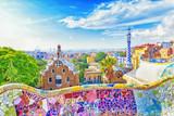 Barcelona, Hiszpania, Park Guell. Fanrastic widok słynnej ławki w Park Guell w Barcelonie, słynny i niezwykle popularny cel podróży w Europie.