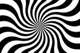 Czarny i biały ślimakowaty tło, wiruje promieniowego wzór, abstrakcjonistyczna wektorowa ilustracja