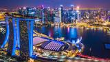 Widok z lotu ptaka widok z góry panoramę miasta Singapur.