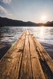 Zachód słońca, spokój, równowaga, cisza, na pomoście Wolfgangsee
