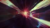 3D renderowanie lotu do innego wymiaru poprzez wormhole w czasie i przestrzeni. Jasny, wysokoenergetyczny i zaawansowany technologicznie tunel