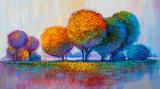 Drzewa, malarstwo olejne, tło artystyczne