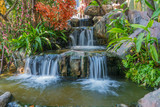 Waterfall in garden at the public park