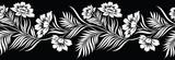 Bezszwowe czarno-biały granica kwiatowy