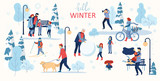 Hello winter poster. People walk outdoors in park.