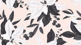 Kwiatowy wzór, czarno-białe liście magnolii, liście eukaliptusa na światło pomarańczowe tło