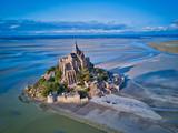 Odgórny widok Mont świętego Michel zatoka, Normandy Francja