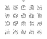 Desserts Well-crafted Pixel Perfect Vector Thin Line Icons 30 2x Grid for Web Graphics and Apps. Simple Minimal Pictogram
