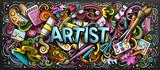 Ilustracja kolor dostawy wykonawcy. Doodles z grafiką. Malowanie i rysowanie sztuki tła.
