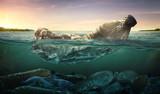 Zanieczyszczenie plastikowych butelek wody w oceanie (koncepcja ochrony środowiska)