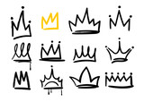 Różne korony doodle. Ręcznie rysowane wektor zestaw. Wszystkie elementy są izolowane