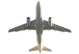 passenger commercial jet plane isolated on white background. from below bottom view.