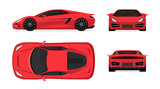 Sports car set in flat design style. Front, back, side and top view of the supercar isolated on white background