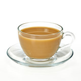 Cup of tea with milk / Coffee milk in glass cup with clipping path