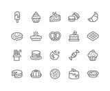 Prosty zestaw ikon linii wektor związanych z deserów. Zawiera takie ikony jak Macarons, Bagel, Sweet Waffle i inne. Skok edytowalny. 48x48 pikseli doskonały.