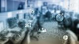 Koncepcja automatyzacji procesów biznesowych. Przekładnie i ikony na abstrakcjonistycznym tle