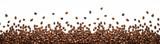 Granicy ziaren kawy panoramiczne samodzielnie na białym tle z miejsca kopiowania