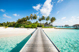 Summer vacation on a tropical island with beautiful beach and palm trees