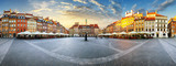 Panorama of Warsaw odl town square at sunset