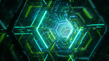 Flying through endless luminous tunnel. Construction with neon glowing hexagons. Hyper loop. Abstract creative futuristic background. Reflective surfaces. Modern colorful illumination. 3d rendering