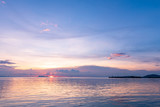 Panoramic tropical  purple sky blue sea sunset with golden light background ,Koh samui pier Thailand