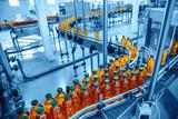 Conveyor belt, juice in bottles on beverage plant or factory interior in blue color, industrial production line