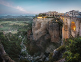 Aerial view of Tajo Gorge and Ronda Puente Nuevo Bridge at sunrise - Ronda, Malaga Province, Andalusia, Spain
