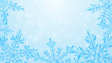 Christmas composition of large complex transparent snowflakes in light blue colors on gradient background. Transparency only in vector format