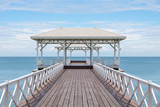 wooden bridge go to pavilion on the sea, beautiful beach on sunny day in Thailand.