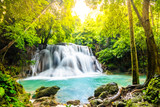 Huai Mae Khamin Waterfalls in Tropical Rainforest at Kanchanaburi Province, Thailand