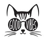 Cute good vibes cat wearing sunglasses vector illustration.