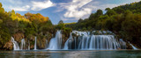 Krka National Park-panorama of the waterfall against the beautiful evening sky