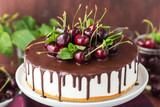 White jelly cake with vanilla base and chocolate topping decorated fresh cherries on a wooden background
