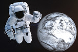 Giant Astronaut near the Dead frozen Earth planet of Solar system. Science fiction. Elements of the image are furnished by NASA
