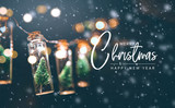 Merry Christmas and happy new year concept, Close up, Elegant Christmas tree in glass jar decoration.