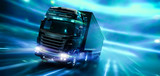 Modern high speed truck with trailer in motion with technology lights background (3D Illustration)