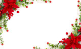 Christmas decoration. Frame of flower of red poinsettia, branch christmas tree, red berry on a white background with space for text. Top view, flat lay
