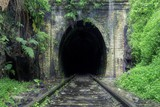 Beautiful shot of train rails surrounded by nature leading to the dark tunnel