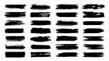Brush paint strokes. Texture brushes and modern grunge brush lines. Ink brush artistic design element for frame design. Vector isolated elements set. Grungy black swatches. Rough smears and stains