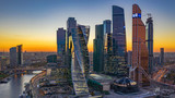 Moscow city skyline and skyscraper building construction architecture aerial view, Moscow International Business and Financial Center at sunset with Moscow river, Russia.