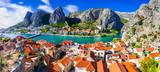 Landmarks of Croatia - impressive Omis town popular tourist destination for trekking and rafting over Cetina river