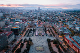 Aerial photography with miniature effect of the sunset at the