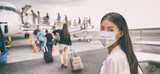 Airport Asian woman tourist boarding plane taking a flight in China wearing face mask. Coronavirus flu virus travel concept banner panorama.