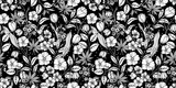 Floral black and white seamless pattern. Spring background from flowers of apple, cherry, sakura, tulips, snowdrops, tree branches and leaves. Vector eps 10