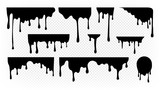 Dripping ink. Melting paint, liquid drops black oil. Isolated splashes, graffiti elements. Spray stream or flow trickle vector set. Dripping melting, spatter graffiti illustration