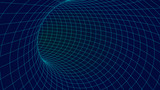 Blue wireframe vector tunnel. 3d wormhole dark illustration.