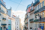 Lisbon, Portugal.- February 11, 2018 : Traditional old buildings in Lisbon, Portugal, Europe