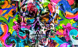 skull graffiti on the wall on background