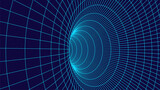 Technology wireframe tunnel on blue background. Futuristic 3D vector grid.